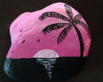 Pink Sunset Hand Painted River Rock