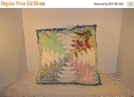 Delayed Shipping Quilted Pillow Vintage MultiColor Throw Pillow Decorative Cotton Toss Pillow Blue Border White Backing Country Accent Pillo