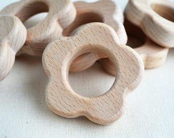 Unfinished Wooden Flower Shape - Wooden Flower Pendant - Unpainted Wood - Flower Teether DIY - Safe for teething