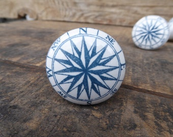 Blue and White Nautical Compass Ceramic Knob / Drawer Pull ~ Home Decor ~ Drawer Cabinet