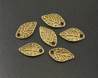 30pcs Antique Bronze Small Leaf Charms Pendant A1398