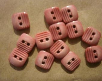 Set of 4 square buttons, old pink color, size 12 mm