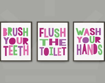 Girls Bathroom Print Set | Brush Flush Wash Prints | Digital Download