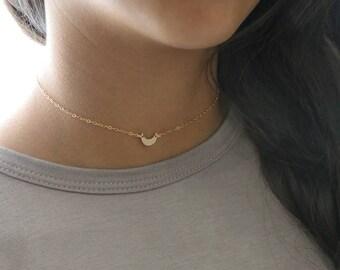 Crescent Moon Choker Necklace / Tiny Moon Necklace Gold / Rose Gold Moon Necklace / Sideways Moon Necklace / Silver Heart Choker Necklace