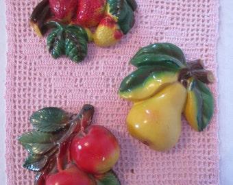 3 vintage mid century plaster fruit / fruit mid century plaster