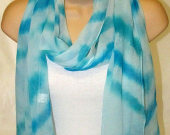 Pure Silk Chiffon Scarf - Hand dyed,  Turquoise