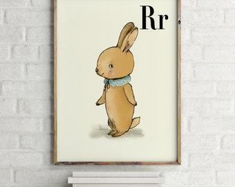 Rabbit print, nursery animal print, woodland nursery, alphabet letters, abc letters, alphabet print, animals prints for nursery