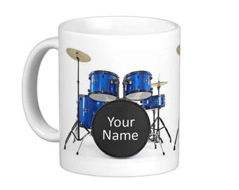 Drum Kit Personalised with Name Drummer Music Rock Band Gift Mug Cup