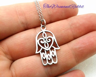 Sterling Hamsa hand pendant - sterling silver Hand of Fatima - protection pendant - filigree heart hamsa necklace - sterling silver talisman