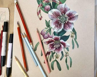 Christmas Flowers and Candycane Orogonal Painting