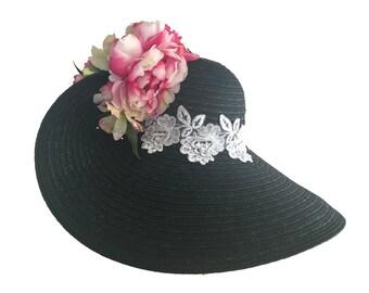 "Women's Kentucky Derby Hat, Sun Hat, Spring Fashion Hat, Wedding, Garden And Tea Party Hat In Black Straw Straw Is All About - ""DERBY DRAMA"""