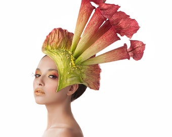 Tall Red and Green Fascinator, Pitcher Plant Headpiece