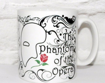 Phantom Of The Opera Mug, Bookish Mug, Mask, Rose, Masquerade Coffee Cup, Musical Opera Mug