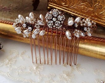 Wedding Hair Comb. Bridal Hair Accessories. Jeweled Headpiece for Vintage Style Wedding Accessories Bridal Hair Comb Hochzeit Haarbrosche