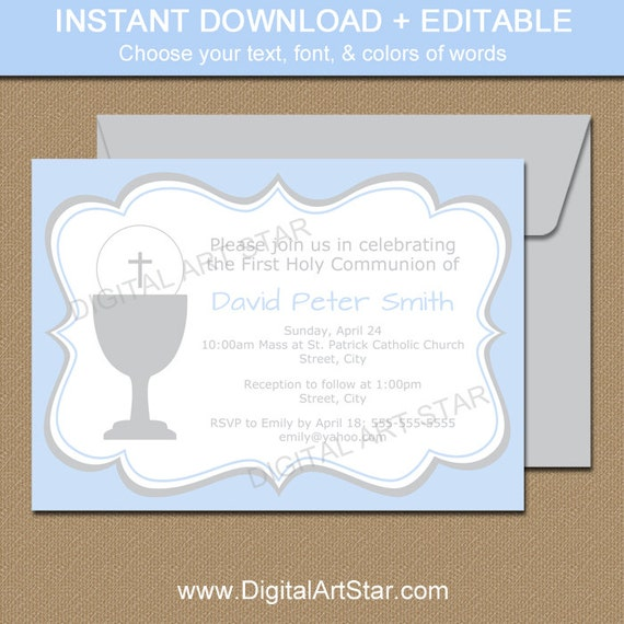 blue gray first communion invitation template printable boy holy communion invitations editable religious invitations instant download