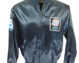 Vintage 80s Champion Racing Jacket Mens XL Satin Blue Chrysler Del Ray Deadstock [I10Q_0-13_Puffy]
