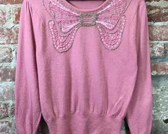 Vintage 1980's Women's Sweater Pink Angora with Bow-Tie Beadwork Embroidery SIZE SMALL