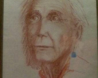 Portrait in crayon, June Snell