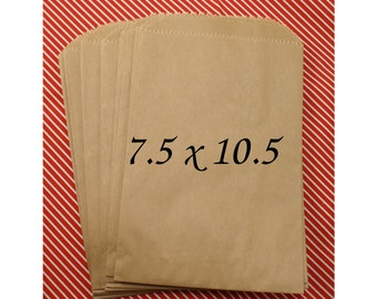 25 LARGE Kraft brown paper bags  7 1/2 x 10 1/2 inch - for Packaging, Party Favors, merchandise bags, Gift Wrapping