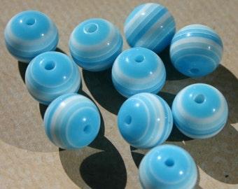 10 dix rayé ciel bleu 12mm stratifié résine acrylique perles Turquoise blanc ciel Aqua bleu sarcelle bébé léger ronde en couches pressé en plastique