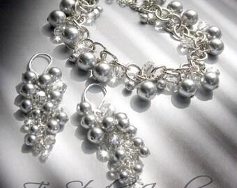 Swarovski Pearl Charm Bracelet for Bride or Bridesmaid - Silver pearls - KARIN