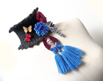 Frida Kahlo Choker Necklace with Tassels - Black Neckwarmer - Wool Crochet Cowl Scarf with Red and Blue Flowers, Grey Leaves and Butterflies