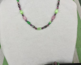 Purple and Green Necklace and Multi-Strand Bracelet Set