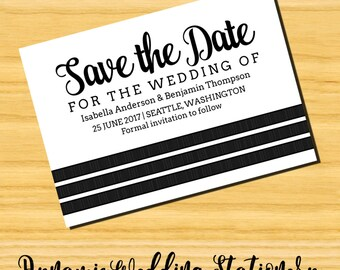 Triple Stripe DIY Digital Printable Wedding Save the Date Invite, Choose Text and Background Color Options
