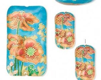 Set of 3! Cloisonne Puffed Rectangle Flower Designs Focal Pendant Beads  38mm & 24mm