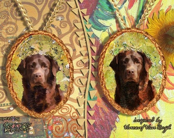 Labrador Retriever Jewelry Pendant - Brooch Handcrafted Porcelain by Nobility Dogs - Gustav Klimt and Van Gogh