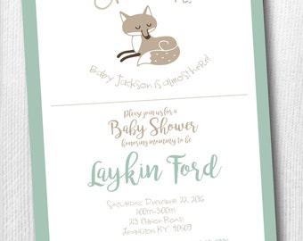 Woodland Baby Shower Invitation with Fox