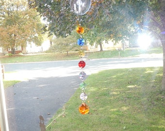 Rainbow Crystal Prism Suncatcher; Rear View Mirror Car Charm; Chakra Decoration; Hanging Garden Art or Window Decor (#10)