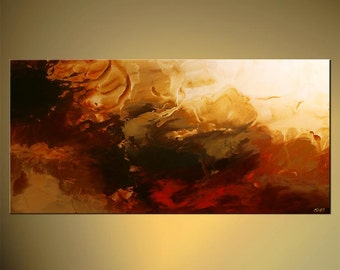 Large Contemporary Red Abstract Painting will be Ready to Hang by Osnat - MADE-TO-ORDER artwork