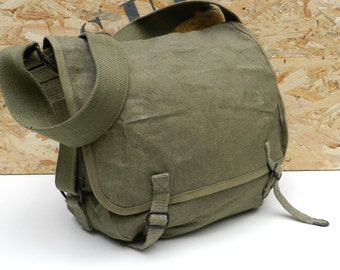 Unissued 1950s French army satchel new messenger bag ruck sack shoulder bag satchel backpack military