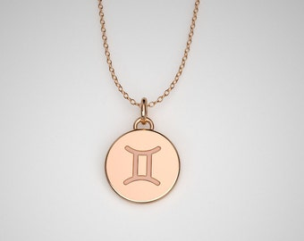 Gemini Necklace - Solid Gold Tiny Gemini Zodiac Charm. TINY TALISMANS™ Spiritual Jewelry. 14k, 18k Rose, Yellow, White Gold & Platinum