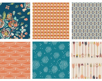Teal Floral Boho Quilting Bundle - Teal Rust Orange - Gemstone Colors - Roses and Arrows - Fleet and Flourish Etno - Art Gallery Fabrics