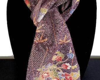 Kimono Scarf S8595 - purple vase print