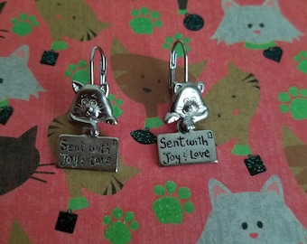 Silver cat earrings, sent with love, silver cats
