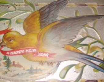 SALE Vintage Embossed Swallow Postcard
