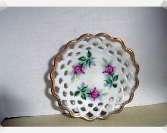 Vintage Small Porcelain Plate/ Rose Design/Handpainted/Home Decor*