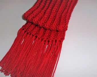 Knit Scarf - Red Scarf - Rib Scarf - Thick, Warm Scarf -  Red Fringed Scarf - Childs Red Scarf - Toddlers Red Scarf - Winter Accessory