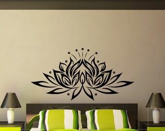Lotus Wall Decal Vinyl Sticker Yoga Flower Indian Pattern Decals Murals Bedroom Dorm