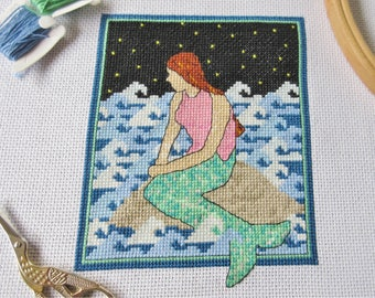 Mermaid cross stitch pattern, modern fantasy embroidery chart, ocean, dreams, cute hoop art, counted cross stitch printable PDF design