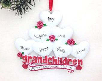 7 Grandchildren Personalized Christmas Ornament / Grandparents Ornament / Grandmother Ornament / Grandfather Ornament
