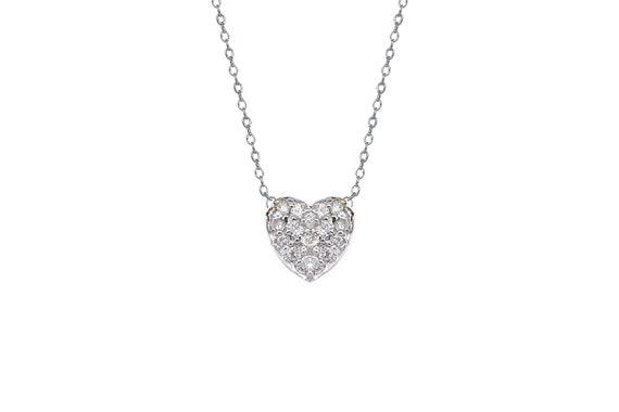 14k solid gold diamond heart pave necklace aloadofball Gallery