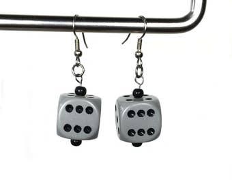 Dice Earrings in Gray and Black, d6 earrings