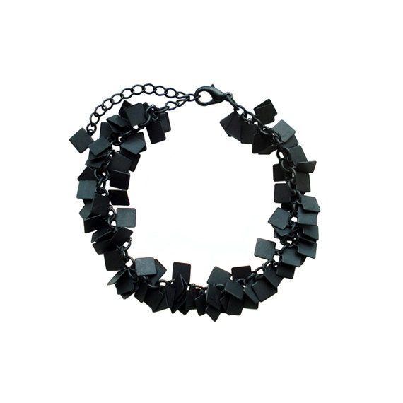 Charm Chain Bracelet - Black Square