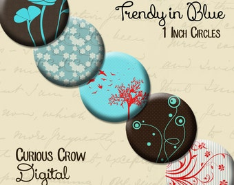 Blue Trendy 1 inch (25mm) Circle Rounds Digital Collage Sheet -  INSTANT Download - Bottle cap Pendant Jewelry - Printable Download