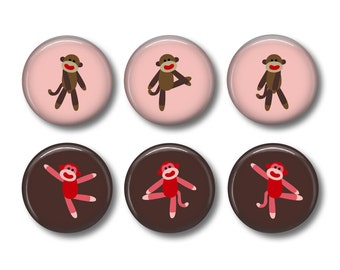 Sock Monkey pinback button badges or fridge magnets, fridge magnet set