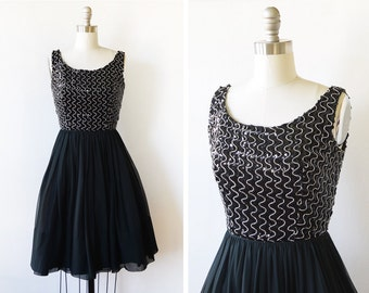 black sequin chiffon dress, vintage 60s dress, 1960s party dress, extra small xs